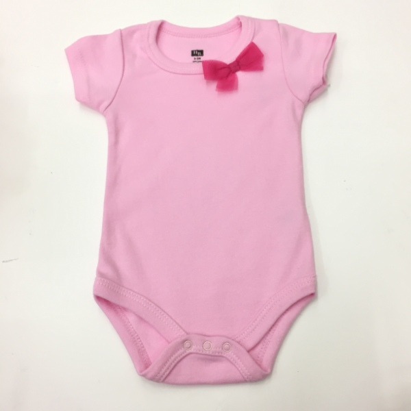 198346aad9df HUDSON BABY – BABY ROMPER SHORT SLEEVE (3-6MONTHS) -LIGHT PINK RIBBON